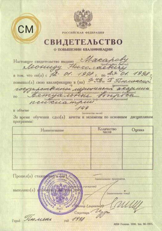 Макаров ЛН. Свидетельство по психиатрии 1998. Актуальные вопросы по психиатрии. Картинка